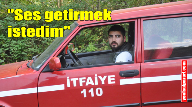 """Emre Esmer, otomobiline """"İtfaiye 110"""" yazarak Trabzon Büyükşehir Belediyesi'ne sözünü hatırlattı"""