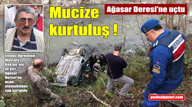 Beşikdüzü – Şalpazarı yolundan Ağasar Deresi'ne uçan otomobilde 3 kişi yaralandı