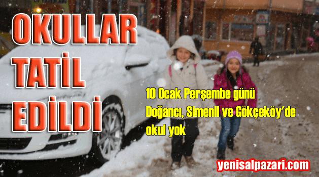 Şalpazarı'nın yüksek kesimlerinde okullar yarın da tatil edildi