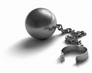 A ball and chain on a white background. Very high resolution 3D render.