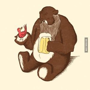 bare beard with a beard, a bird and a beer