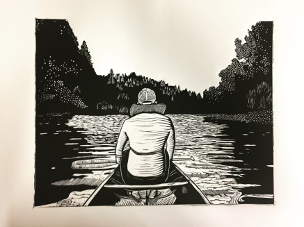 """Russian River"", 11""x14"" linocut print on Rives BFK, 2016"