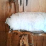 מילוי הספה - הנחת יריעת צמר גפן