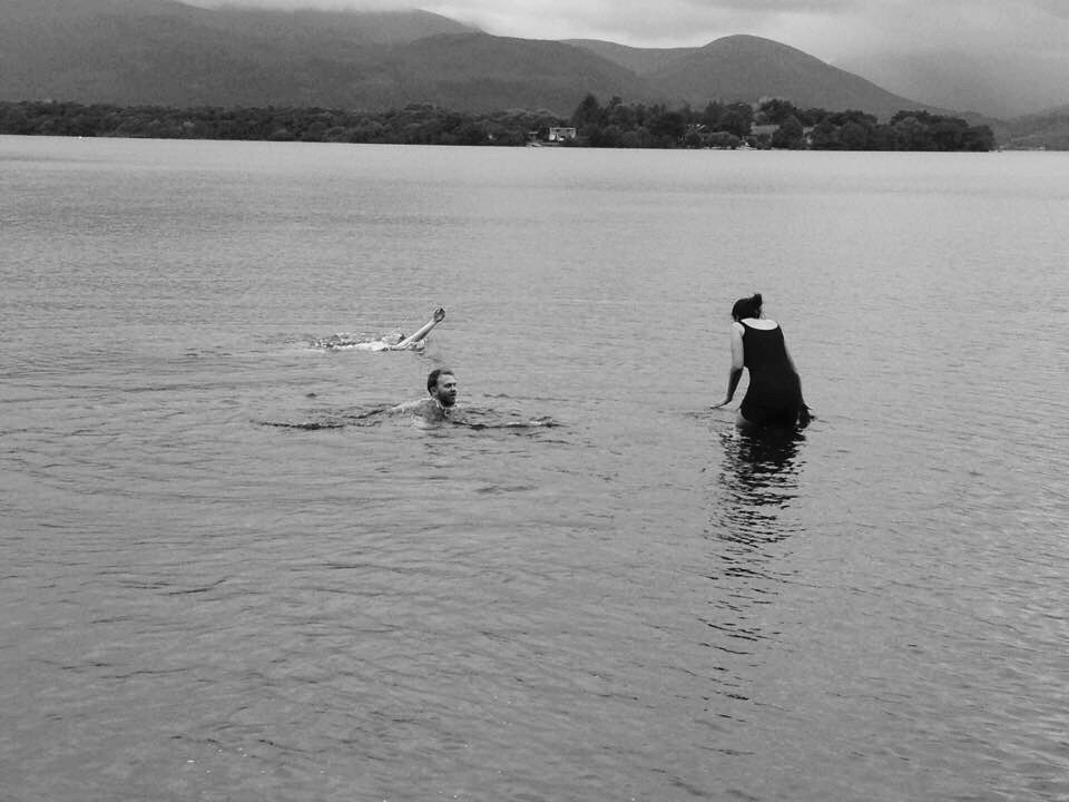 Swimmers Loch Lomond Black and White Photography