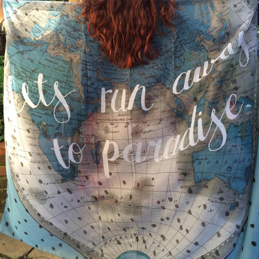 Lets Run Away To Paradise - Inspirational Travel Quotes | Yesihaveablog - A Writers Life | Ladies Vintage Map Scarf Wanderlust Quote
