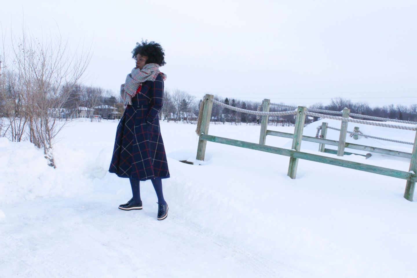 DIY Tweed Dress with blanket scarf in the snow -YesIMadeMyDress.com