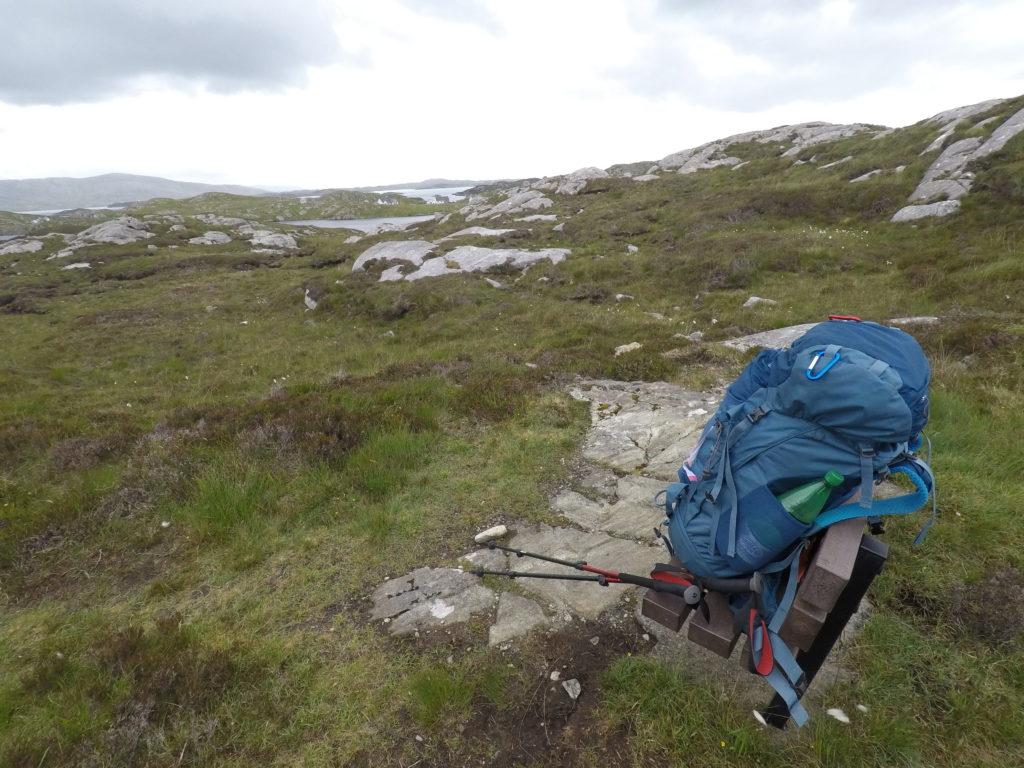 Walking the Hebridean Way - bag over a loch