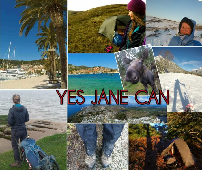 Travel, hike, camp collage