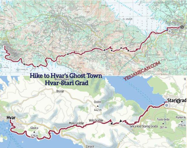 Hiking Hvar to Stari Grad map