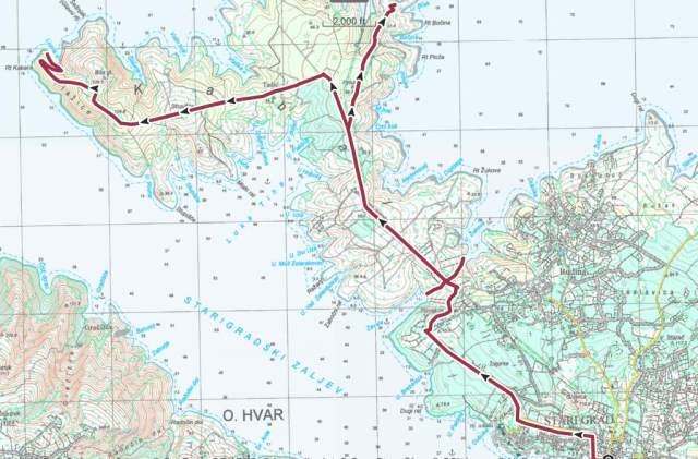Hvar hiking trails- NW tip map