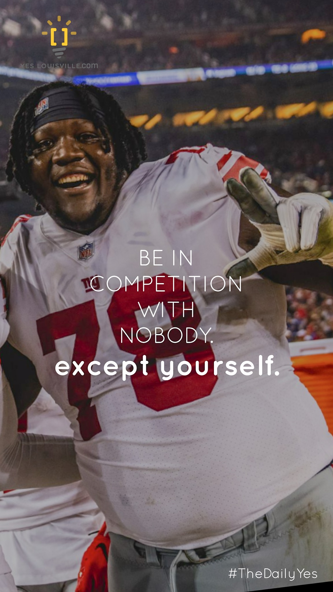 Save this image and use it as the background or lock screen on your phone AND share it on your Instagram story! Bookmark daily.yeslouisville.com jamon brown u of l New York Giants