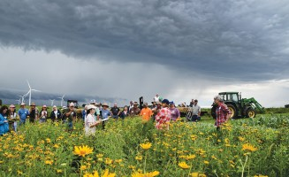 A summer 2019 demonstration for the Practical Farmers of Iowa was held at Paul and Karen Mugge's organic row-crop farm. They showed how to install a beneficial prairie insect habitat. Photo by Practical Farmers of Iowa.