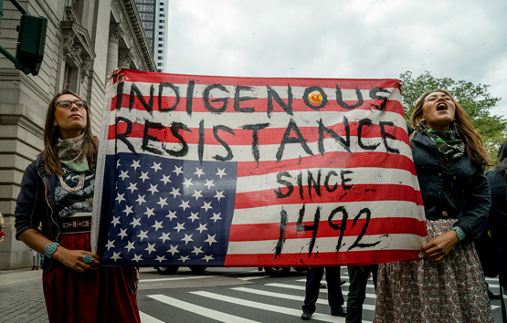 Indigenous activists at the People's Climate March. Photo by Allan Lissner.