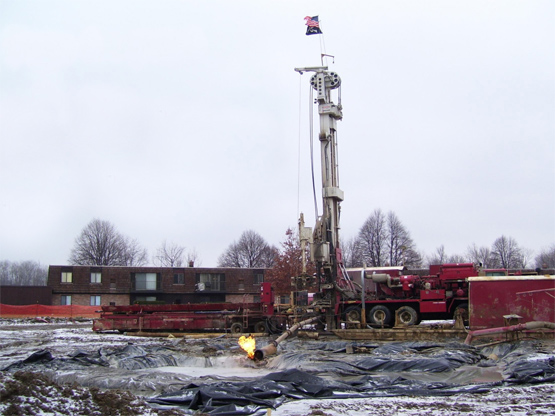 A surburban fracking operation in Ohio.