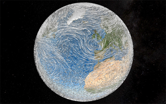 Earth wind patterns. Photo by 	NASA Goddard Photo and Video.