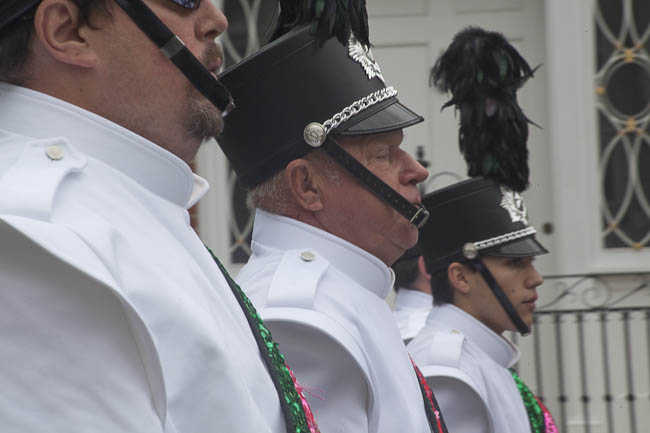 photo, 3 men in marching band