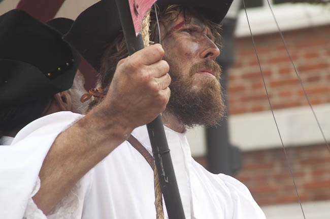 historic reenactor on float