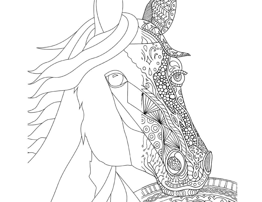zentangle horse coloring page for adults plus bonus easy horse