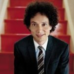 What is on Malcolm Gladwell's bookshelf?