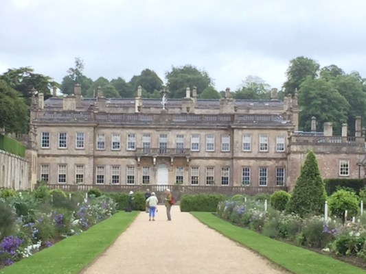 Dyrham Park house and its herbaceous borders