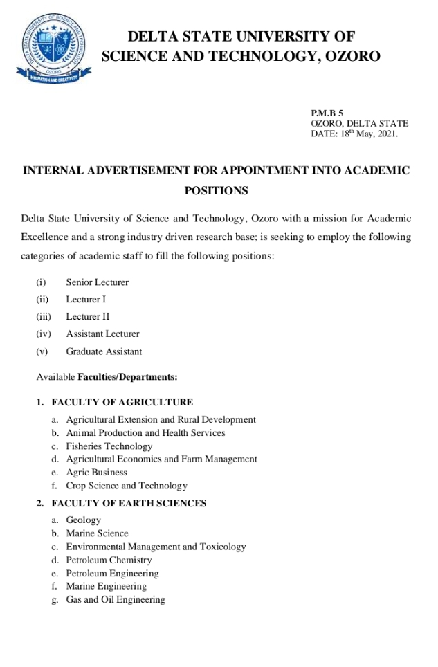 Senior Lecturers (Management Technology) at Delta State University of Science and Technology, Ozoro (4 Openings)