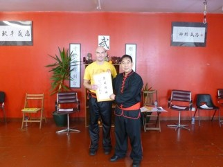 Sifu Hepple presented with a personalised attendance certificate for the senior seminar by Great Grandmaster Yee Chi Wai (June 2016)
