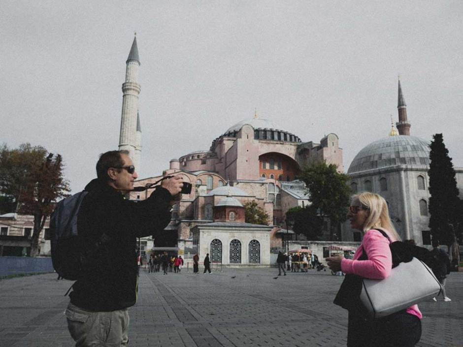 tourist taking pictures outside hagia sophia