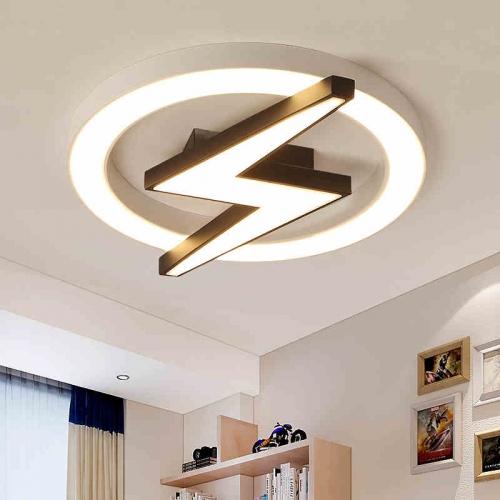 modern style dimmable led lightning shield flush mount ceiling light for teen boy s room kid s room