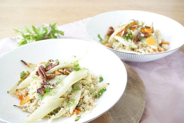 Vegan recept quinoa met geroosterde wortel & venkel