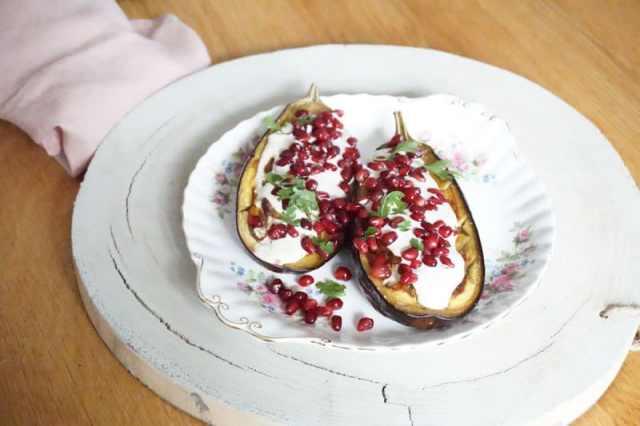 Gegrilde aubergines met labneh