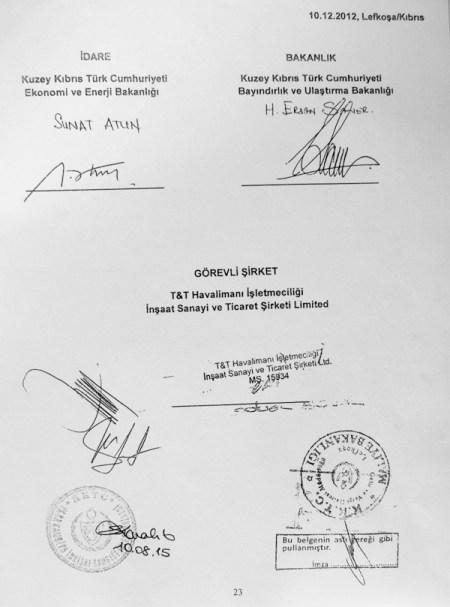Ercan Havaalanı özelleştirilmesindeki imzacılar