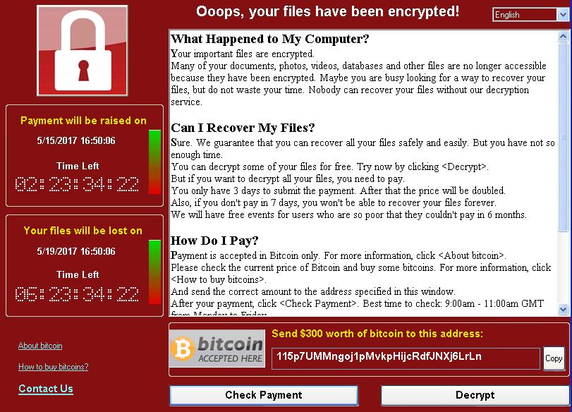 Alerte Ransomware – WannaCrypt !