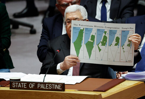Palestinian President Mahmoud Abbas criticizes Trump's peace plan during a meeting at the UN General Assembly, February 2020.