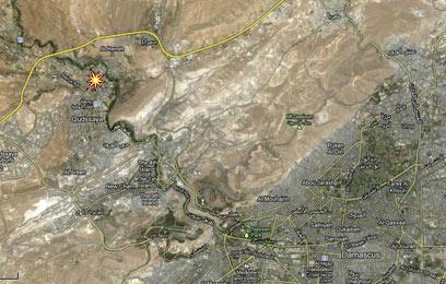 אזור התקיפה, לפי ההודעה הסורית (מפה: Google Maps)