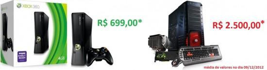 PC de jogos ou um console - Custo