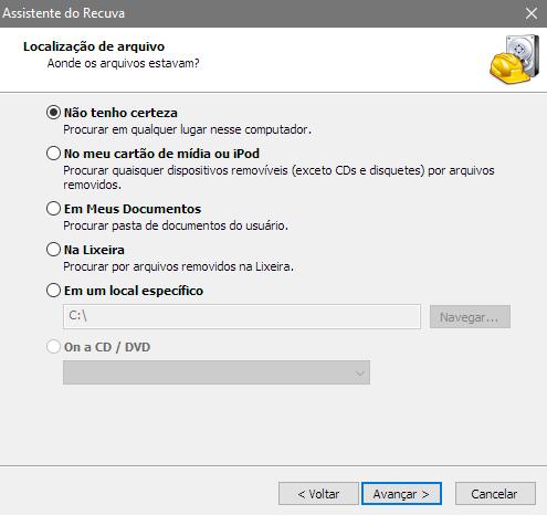Assistente do Recuva - Localização de arquivos