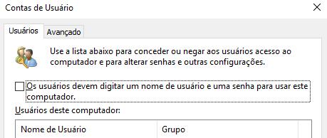 """Desmarque a caixa """"Os usuários devem digitar um nome de usuário e um senha..."""""""