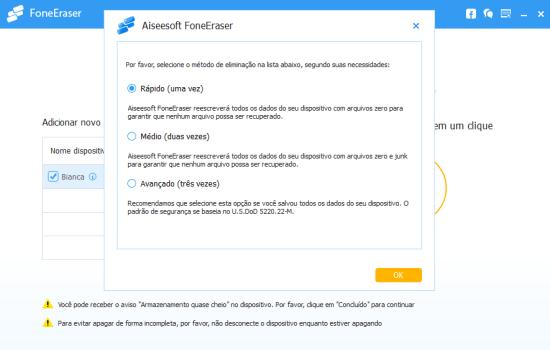 Como limpar o Iphone: Aiseesoft FoneEraser - Passo 3