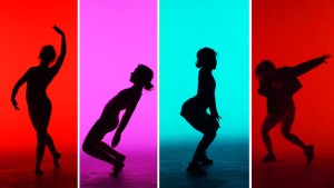 Four frames of silhouetted dancers; far left, red background with a ballet pose; second from left, pink background with dancer leaning back; second from right, blue background with dancer twerking; far right, red background with dancer dabbing