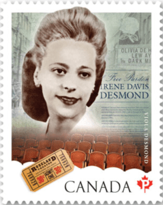 Canada Post stamp featuring the face of Viola Desmond.