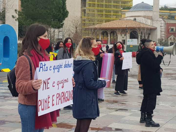 Albanian Women Protest Against Inequality and Violence and to protect Women's Right in Albania