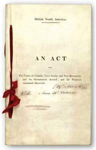 The photo of a cover of a certified reproduction of the British North America Act, 1867, stored in Canada's parliamentary archives.