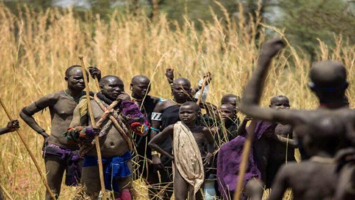 A Festival of Mursi tribe Men, Ethiopia
