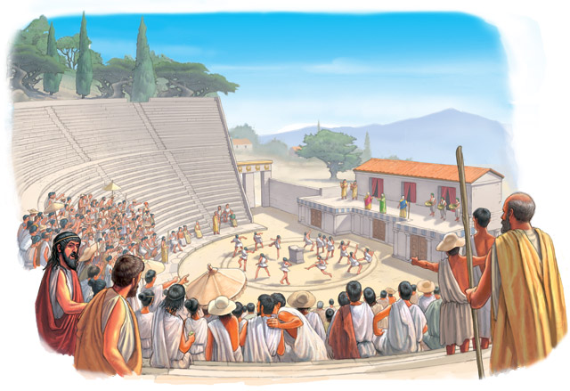 Painted image of Greeks watching a theater performance of a story