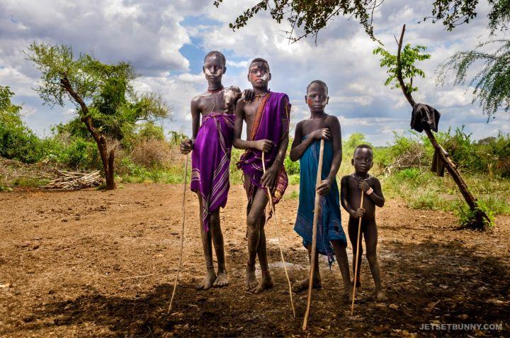A group of Mursi Tribe boys
