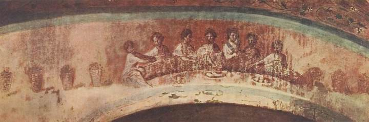 Painting within the catacombs of Priscilla