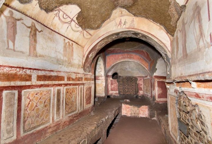 The Greek Chapel in the catacombs of Priscilla