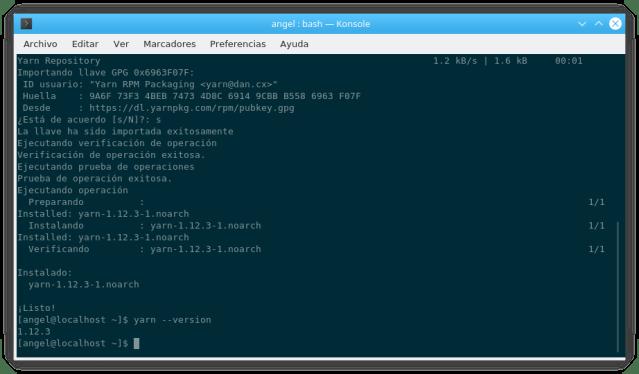 Versión 1.12.3 de Yarn
