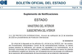 Notificaciones de asilo de 1 de enero de 2021