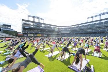 yoga class at baseball field